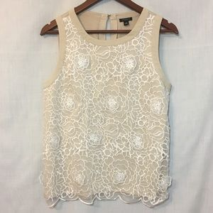 Ann Taylor 3-D Floral Embroidered Layered Tank XS